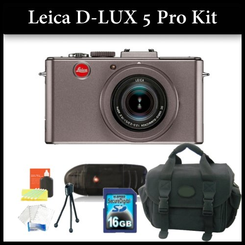 Leica D-LUX 5 Digital Camera Pro Kit Includes: Leica D-Lux 5 Digital Camera(Titanium), 16GB Memory Card, Memory Card Reader,