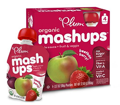 Plum Kids Organic Fruit Mashups, 4-Count (Pack of 6) (Packaging May Vary)