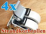 4x Strandkorbrollen bis 100kg/ pro Doppelrolle jeweils mit Bremse RASEN geeignet