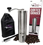 **FLASH SALE TODAY* Manual Coffee Bean Grinder - Stainless Steel Body with Adjustable Ceramic Conical Burr - Hand Crank Mill Grinds Beans for Espresso, Turkish, Greek & Aeropress - Camping Travel Size