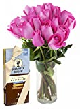 Bouquet of Long Stemmed Pink Roses (Dozen and a Half) and Scharffen Berger Chocolate - With Vase
