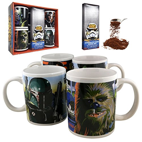 Star Wars: A New Hope Ceramic Mug 4-Piece Gift Set (Includes Chocolate Fudge Cocoa Mix)