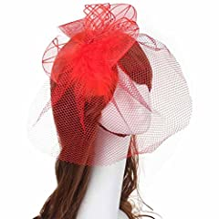 DZT1968(TM)Women Wedding Fascinator Headband Veil Feather Hard Yarn Hats Brides (Red)