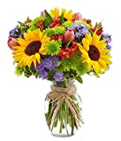 "From You Flowers - European Floral Garden - Sunflowers, Pink Tulips, Green Poms (Free Glass Vase Included) Measures 12""H by 10""L"