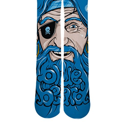 Dopesox Mens Blue Beared Pirate Sublimated Socks One Size (6-12) White