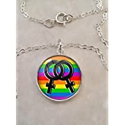 Lesbian Pride LGBT Image Sterling Silver Small Pendant Necklace