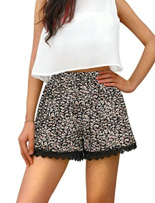 Allegra-K-Women-Cashew-Flowers-Print-Scalloped-Lace-Trim-Shorts-Black-Beige-L