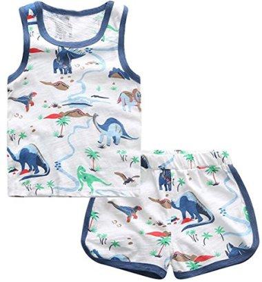 Binn-Baby-Boy-Fashion-Cute-2pcs-Dinosaur-Tank-T-shirt-and-Shorts-Set-5T-white