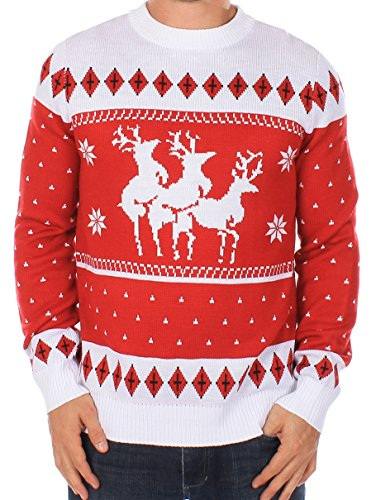 Ugly Christmas Sweater - Reindeer Menage a Trois Sweater by Tipsy Elves (XL)