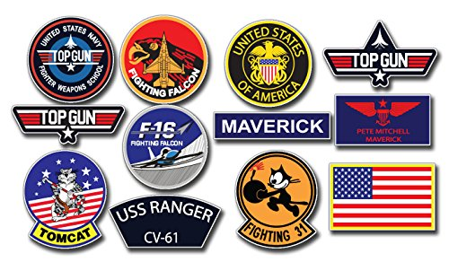 Top Gun Pete Mitchell MAVERICK Sticker Set - 12 Large , Digitaly Printed Outdoor Stickers on a ORAFOL media with size 47 x 26 cm ,
