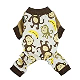 Fitwarm Soft Cotton Adorable Monkey Dog Pajamas Shirt Pet Clothes, Brown, Large