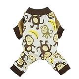 Fitwarm Soft Cotton Adorable Monkey Dog Pajamas Shirt Pet Clothes, Brown, Large