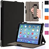 i-Blason Apple iPad Air Case Auto Wake /Sleep Smart Case Smart Cover Slim Folio Book Shell Stand case Cover Wifi 3G 4G LTE with Stylus Loop & Bonus Stylus (Black)