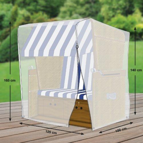 Premium Schutzhülle für Strandkorb aus Polyester Oxford 600D von 'mehr Garten' - Standardgröße (Breite: max. 125cm)