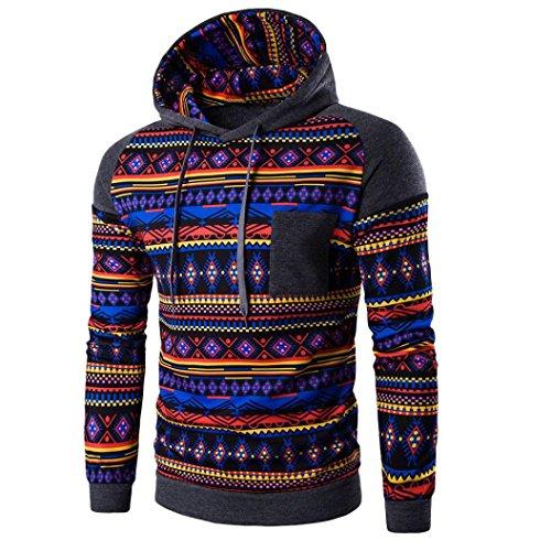 WOCACHI Herren Kapuzenpullover Männer Bohemian Retro Langarm-Kapuzenshirt mit Kapuze Sweatshirt Tops Jacken-Mantel Outwear Dunkelgrau