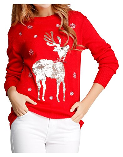 V28 Women Girl Ugly Christmas Shining Reindeer Snowflake Pullover Sweater Jumper (L, Red)