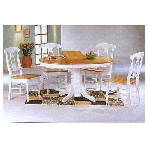 Kitchen Table And Chairs Amazon: Buy Low Price Coaster 5pc White & Natural Oval Dining
