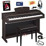 Yamaha Arius YDP-181 Digital Piano Bundle with Bench, Metronome, Essential Cables Pack, Headphones, Instructional Book, and Polishing Cloth - Dark Rosewood
