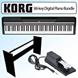 Korg SP170BK 88-key Digital Slab Piano With Speakers Black Bundle