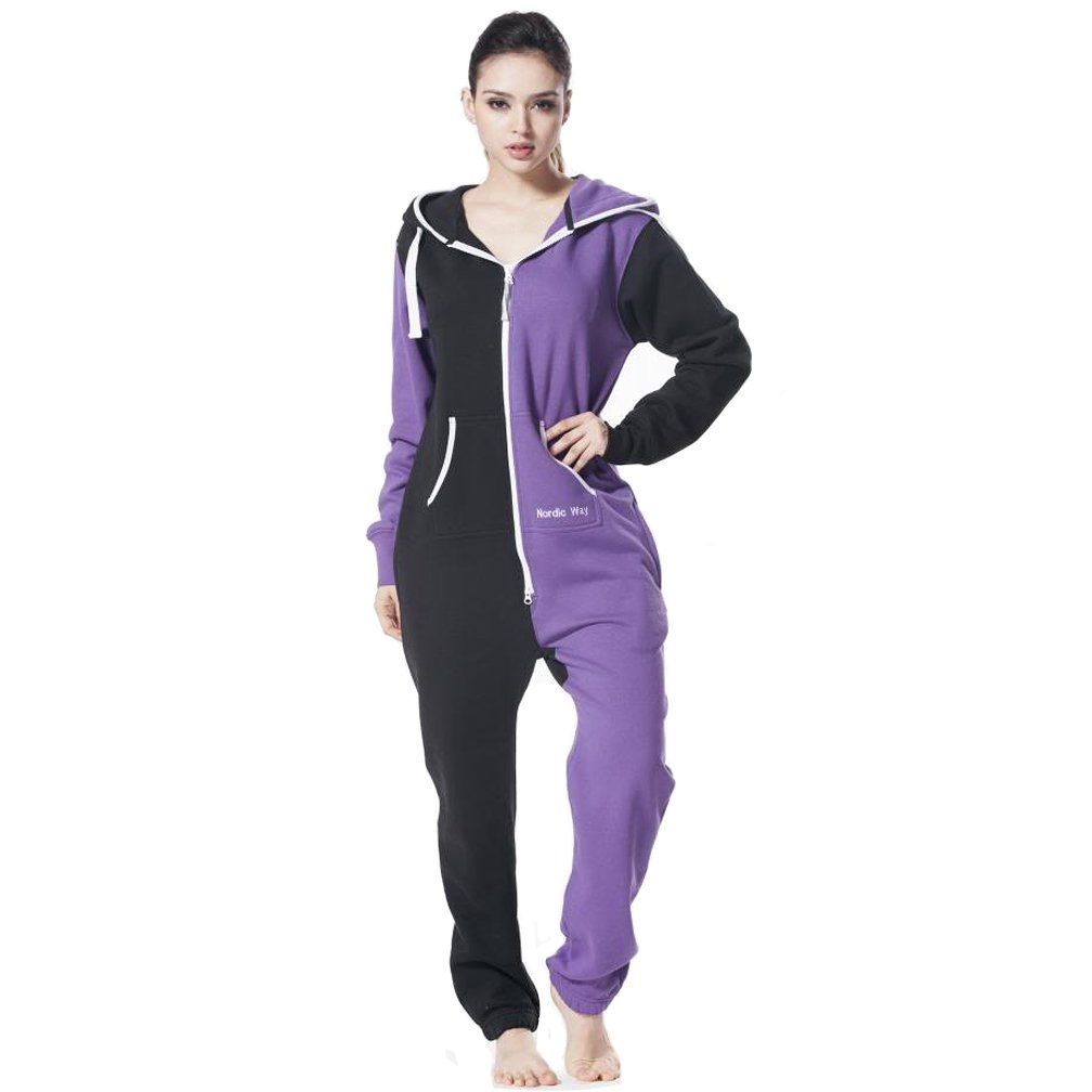 Nordic Way Unisex Womens Romper One Piece Hood Pajamas Jumpsuit All In One
