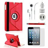 GEARONIC TM iPad Mini 5-in-1 Accessories Bundle Rotating Case for Business and Travel, Red