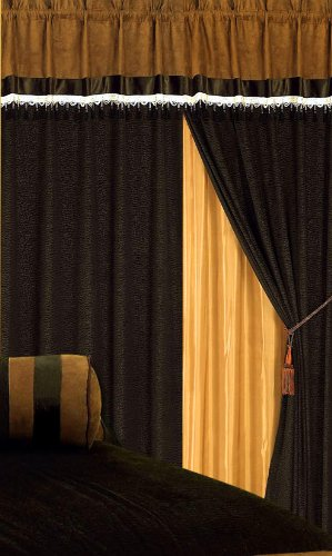3 layer modern chocolate brown micro suede curtain set with attached valances and sheer backing 120 x 84 inches find sale ugli fruit 6