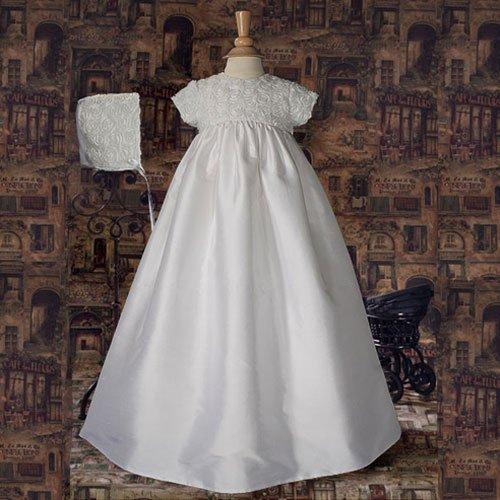 186c703333143 Baby Girls Size 3-6M White Silk Rosette Christening Baptism Gown Dress