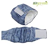 """Wegreeco Jeans Washable Male Dog Diapers (Pack of 2) - Washable Male Dog Belly Wrap (X-small - 10""""- 14"""" Waist)"""