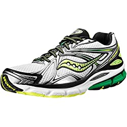 Saucony Men's Hurricane 16 Running Shoe,White/Green/Citron,9.5 M US