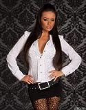 Taillierte Damen Bluse mit Rüsche weiss
