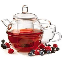 Tetera de cristal/café juego de - Set de taza y colador de cristal extraíble de tazas de té de - olla 700 ml - taza 390 ml