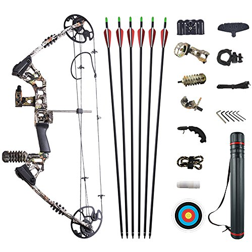 ATROPOS-120 Archery Hunting Pro Compound Bow Set With All Accessories, Left Handed Bow,20-70lbs Draw Weight, Camo