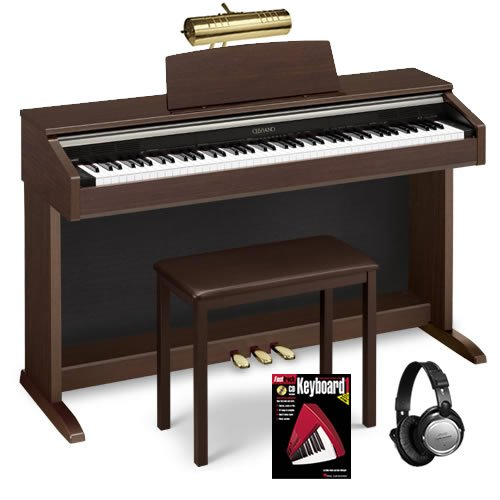 Casio AP-220 Digital Piano BUNDLE w/ Matching Bench, Lamp & Headphones