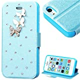 myLife Bright Sky Blue {Gem Butterflies Design} Faux Leather (Card, Cash and ID Holder + Magnetic Closing) Slim Wallet for the iPhone 5C Smartphone by Apple (External Textured Synthetic Leather with Magnetic Clip + Internal Secure Snap In Hard Rubberized Bumper Holder)