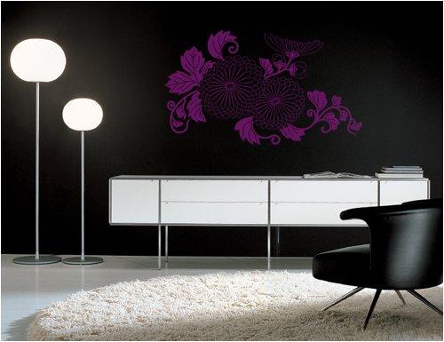 Blumenranke, Größe: L, Maße: 110 cm X 65 cm, Farbe: Schwarz