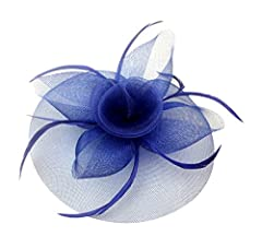 Womens Big Flower Mesh Feather Fascinator on Hair Clip and Brooch Deep Blue
