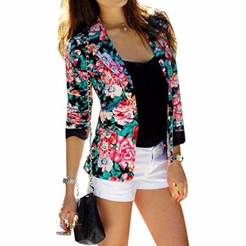 Arbeiten Sie Blumen gedruckte Blumenmuster kurze Klagejacke lange armel Mantel