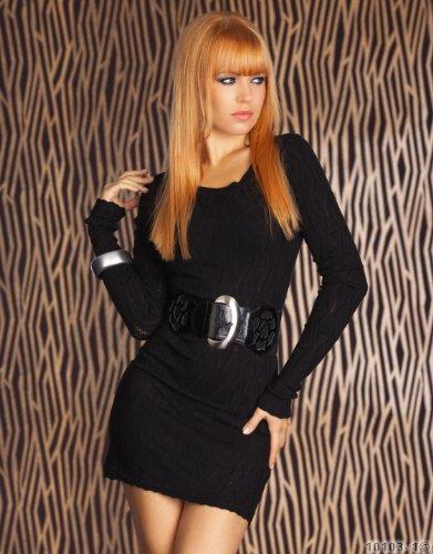 Minikleid Langarmshirt aus feinem weichen Strick schwarz