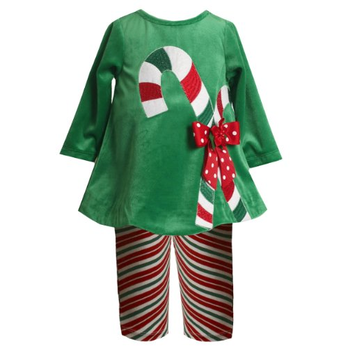 Bonnie Jean Christmas Outfits.Size 3 6m Bnj 7523x 2 Piece Green Giant Candy Cane Velour