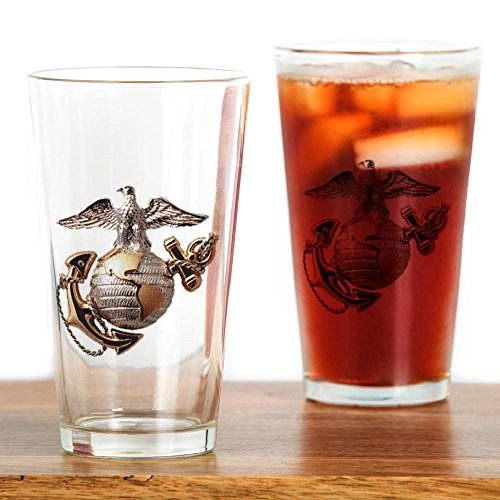 CafePress - Marine Corps Emblem Drinking Glass - Pint Glass, 16 oz. Drinking Glass