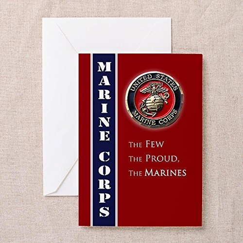 CafePress USMC Coin Greeting Cards - 4x5.6 Multi-color Matte