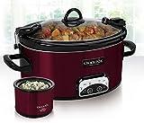 New Red CrockPot 6 Quart Slow Cooker Crock Pot plus Little Dipper Warmer