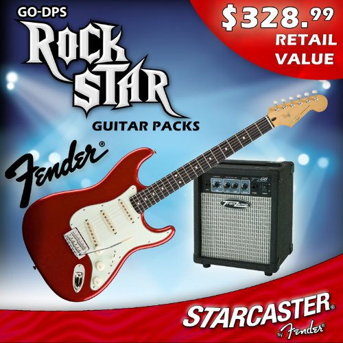 find low price fender starcaster electric guitar pack with amp and accessories candy apple. Black Bedroom Furniture Sets. Home Design Ideas