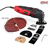 51oQZivo0ML. SL160  - BEST BUY #1 Apollo 220 Watt Oscillating Combo Multi Tool with Variable Speed Thumbwheel, Safety Switch & 37 Piece Mixed Accessory Kit Including Cutting Blades, Cutting Discs, Scraping Blade, Grinding Blade & Polishing Head and Sander Sheets