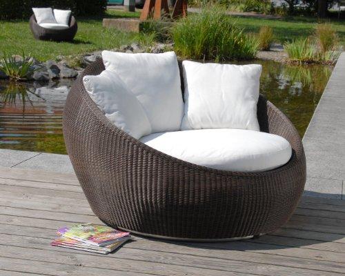 Loungesessel Sina medium, Outdoor Lounge aus hochwertigen Rehau Raucord Polyrattan, wind- und wetterfest, braun inkl. Polster