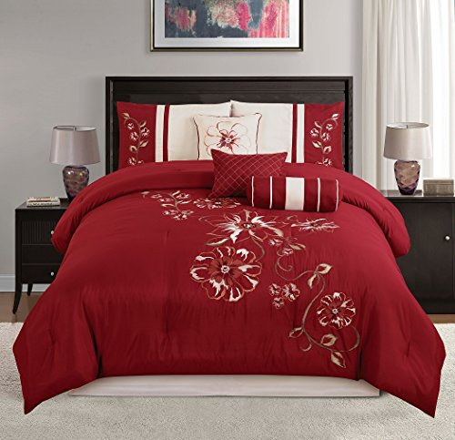 Chezmoi Collection Red Floral Hibiscus Embroidery Beige Comforter Bedding Set