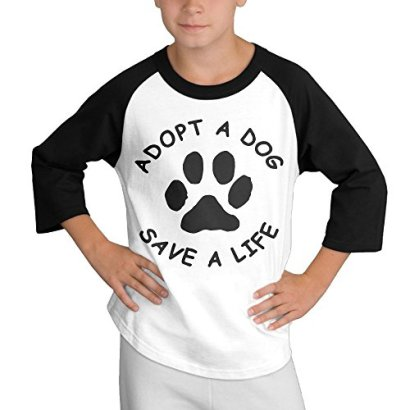 Adopt-A-Dog-Save-A-Life-34-Sleeve-Contrast-Jersey-Baseball-Tee-Large-For-Youth