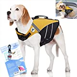 SeaDog Pro Dog Life Jacket (M) with Clip-On Water Activated LED Safety Strobe - Quick Release Doggy Life Preserver - High Quality Adjustable Pet Life Vest. Tough Hi-Vis Nylon - Reflective Trim, Strong Grab Handle -Best Dog Flotation Vest on Amazon