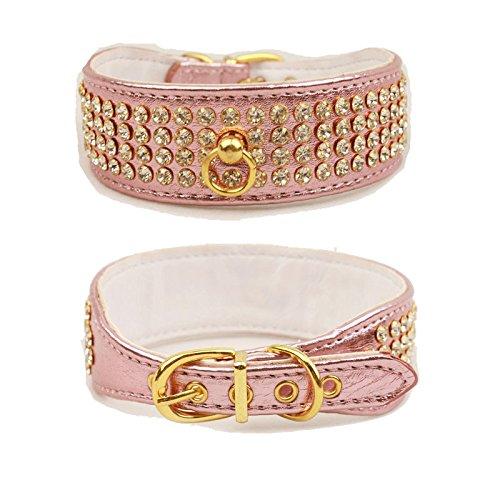 BINGPET BA2039 personalized Faux Leather diamond rhinestone Dog Pet Puppy Collar Jewelry , Medium Pink