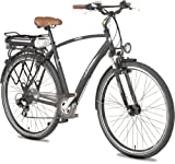 Ruhrwerk Fahrrad (622 mm) E-Bike Pedelec 24 V He. Trekk. Gaze mit 8-Gang Shimano Kettensch., gef. mit Nabendynamo, tiefschwarz matt, 50 cm, 28 Zoll
